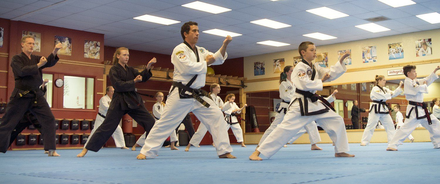 students learning form martial arts