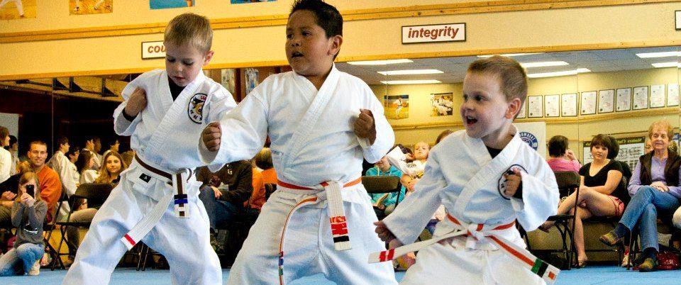 3 boys testing martial arts skills