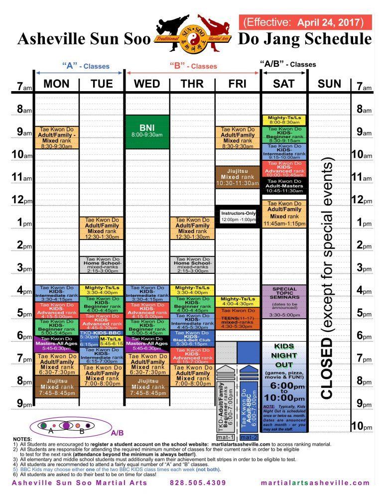 Asheville Sun Soo Martial Arts Do Jang Schedule Effective April 24, 2017