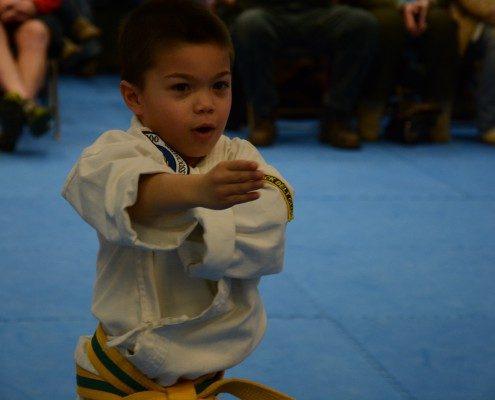 serious child posing tae kwon do
