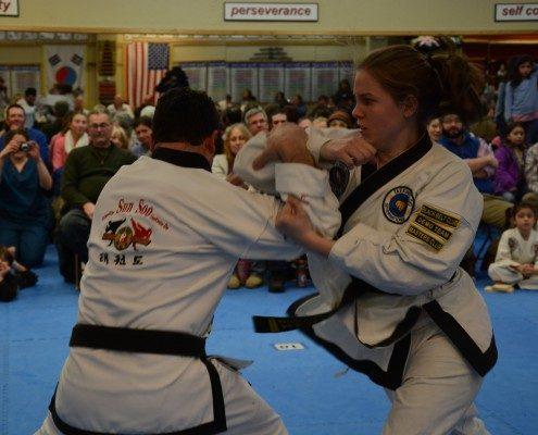 adult sparring demonstration self defense