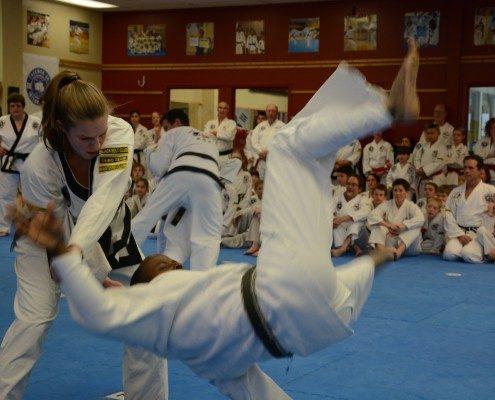 Female taking down male self defense