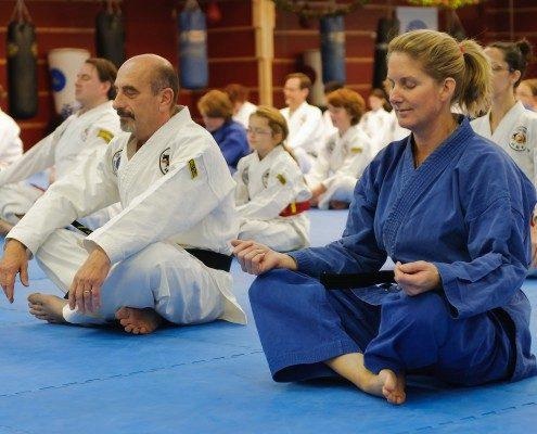 meditation in taekwondo studio