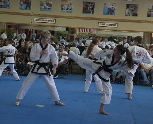 teen girl practices martial arts with teen boy