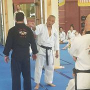 Photo of Grandmaster Suk Jun Kim demonstrating a technique on Master Michael Dickinson of Asheville Sun Soo Martial Arts