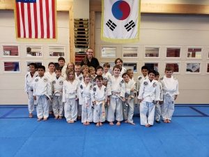 Ms. Noa Meiri with a Kids Beginner Tae Kwon Do class