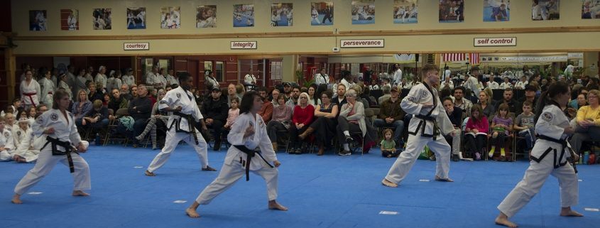 adult and teen practitioners performing tae kwon do poomsae