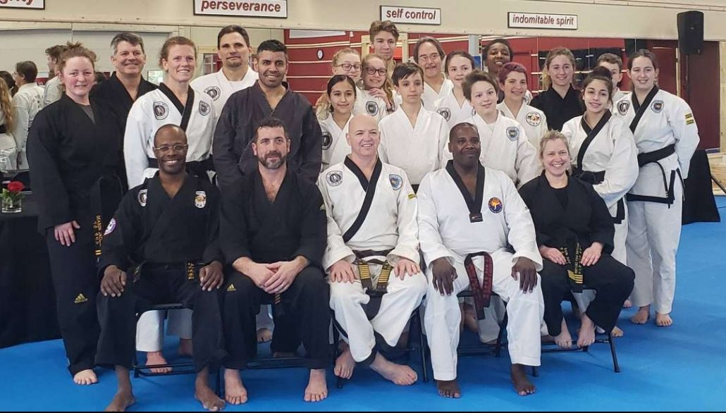 Photo of students in Black Belt ranks following special topics Masters Seminar - February 2019 Belt Rank Testing