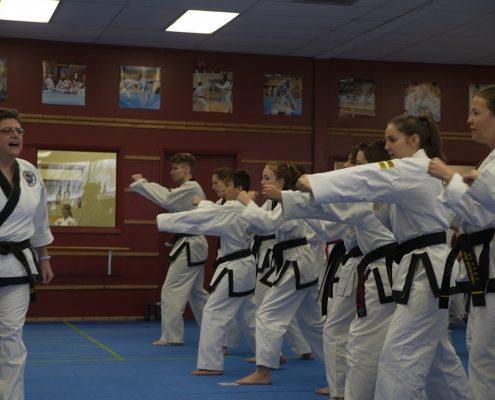 photo of taekwondo students warming up