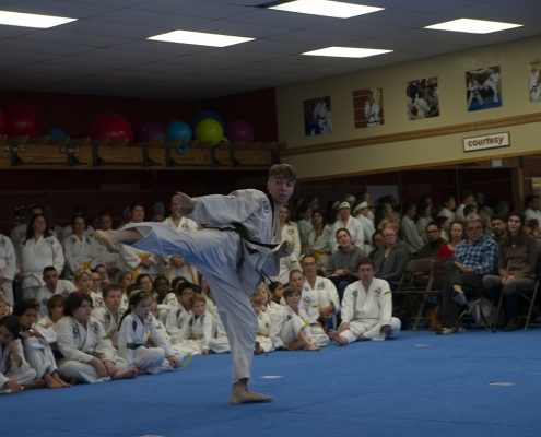 photo of young man doing tae kwon do