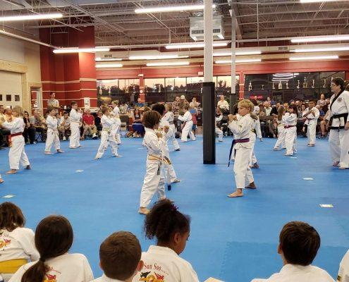 Children preparing to demonstrate sparring at taekwondo testing